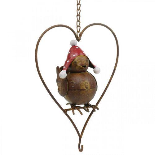 Pájaro decorativo de metal para colgar decoración de jardín óxido rojo-blanco 15 × 21cm