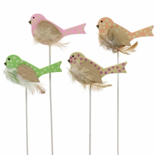 Enchufe decorativo pájaro madera verde, rosa, amarillo, naranja surtido 7cm x 4cm H24cm 16pcs