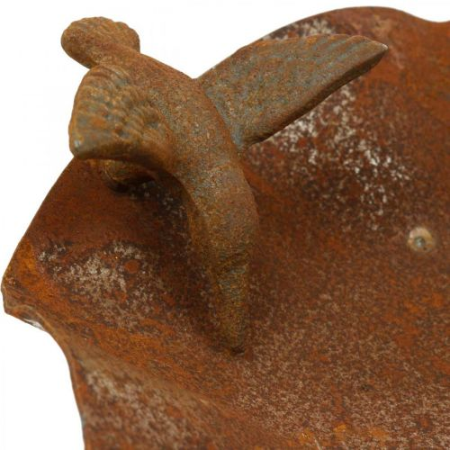 Bañera para pájaros decorativa, comedero de acero inoxidable, bañera para pájaros antigua Ø28cm H74cm