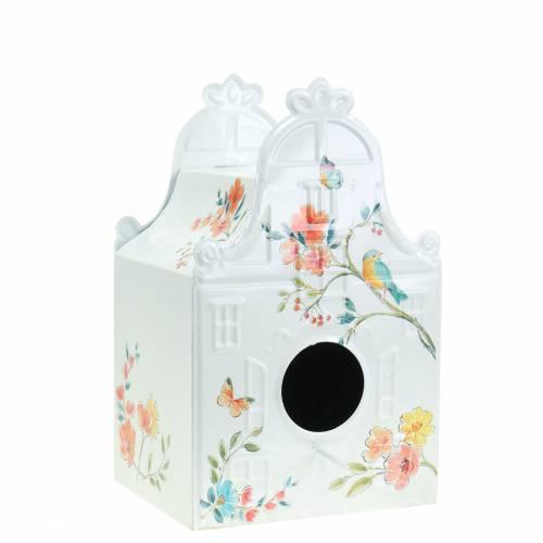 Casita decorativa con flores metal blanco 25.5c × 16 × 13.5cm