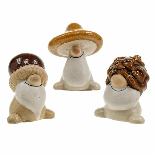 Juego de figuras de cerámica gnomos del bosque frutas de otoño 6 - 6,3 cm marrón / amarillo 3 piezas