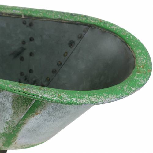Tina decorativa de metal usada plata, verde 44.5cm x18.5cm x 15.3cm