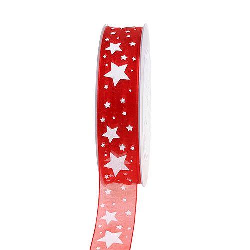 Cinta de navidad organza roja con estrellas 25mm 20m