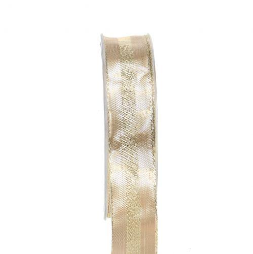 Cinta de navidad dorada con alambre 25mm 20m
