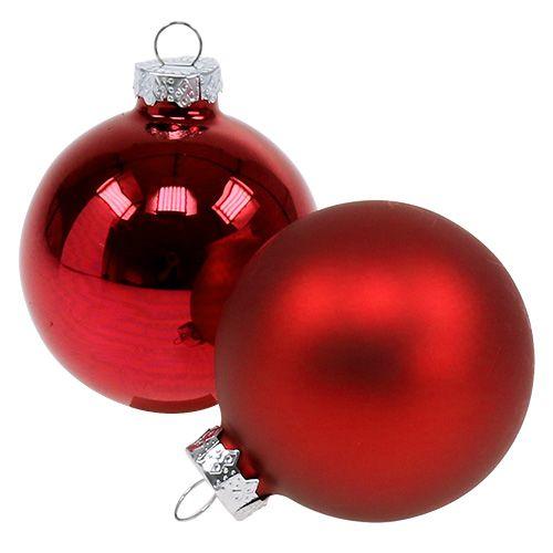Bola de Navidad vidrio Ø6cm rojo mezcla 24pcs