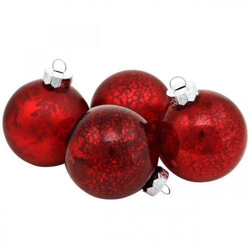 Bola de árbol, adornos de árbol de Navidad, bola de cristal jaspeado rojo H4.5cm Ø4cm cristal auténtico 24pcs
