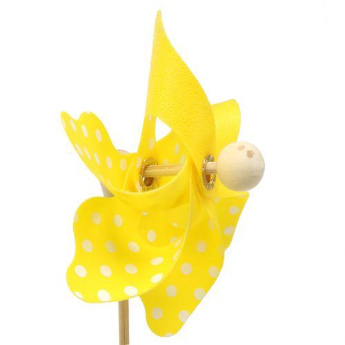 Mini molino de viento amarillo con lunares blancos Ø8cm 12pzs