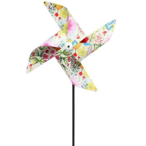 Molino de viento de decoración de verano Ø14cm de color en el palo 3pcs