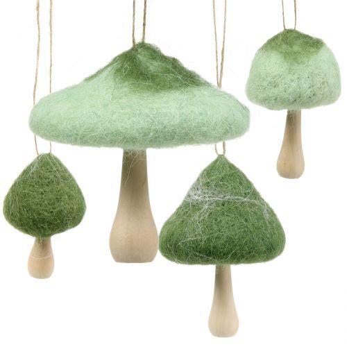 Seta Decoración para colgar madera / fieltro verde Ø5cm-Ø10cm H9cm 8pcs