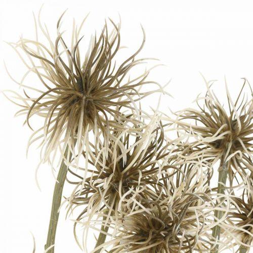 Xanthium flor artificial decoración de otoño 6 flores crema, marrón 80cm 3 piezas