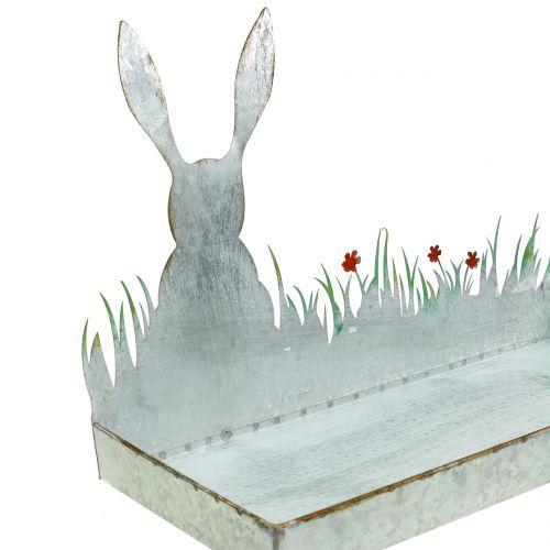 Bandeja de zinc Prado de primavera con conejito de Pascua 35cmx16cm A24cm
