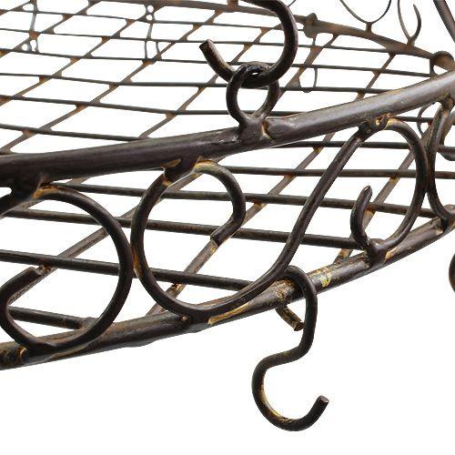 Bandeja con ganchos para colgar marrón, óxido Ø45cm