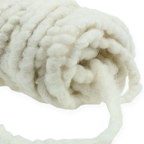 Cordón de fieltro polar Mirabell 25m blanco