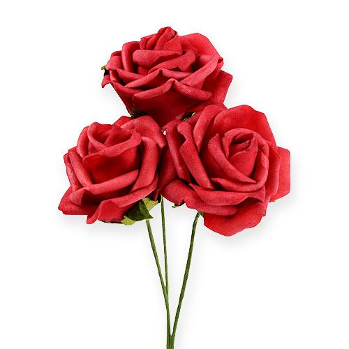 Foam-Rose Ø6cm rojo 27pcs