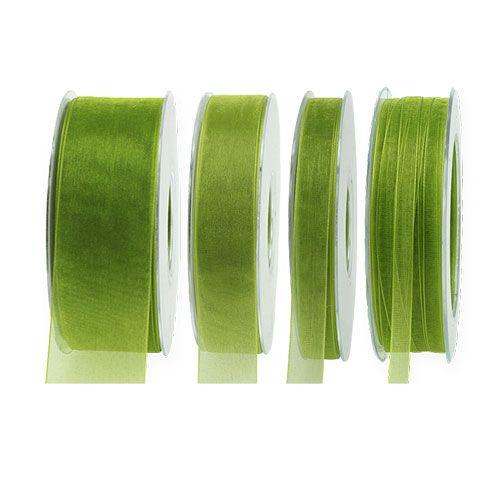 Cinta de organza verde musgo 50m