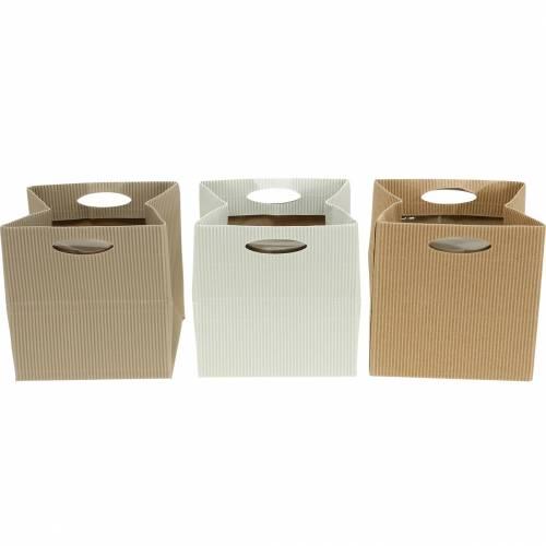 Bolsa de papel 12cm marrón, crema, beige macetero bolsa de regalo 12pcs