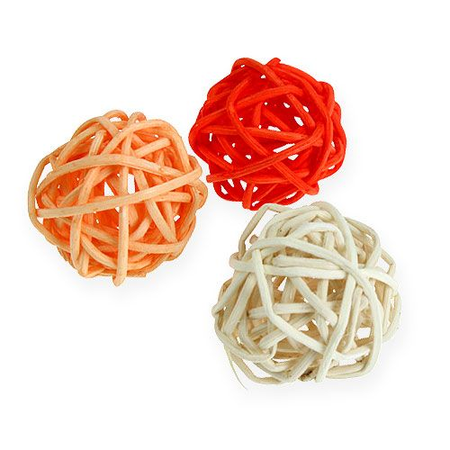 Rattanball naranja, albaricoque, blanqueado 72 piezas