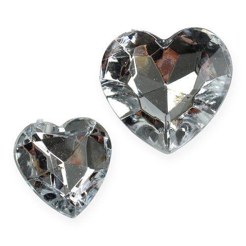 Decoración para controlar corazones acrílicos plata 2cm - 3cm 120pcs