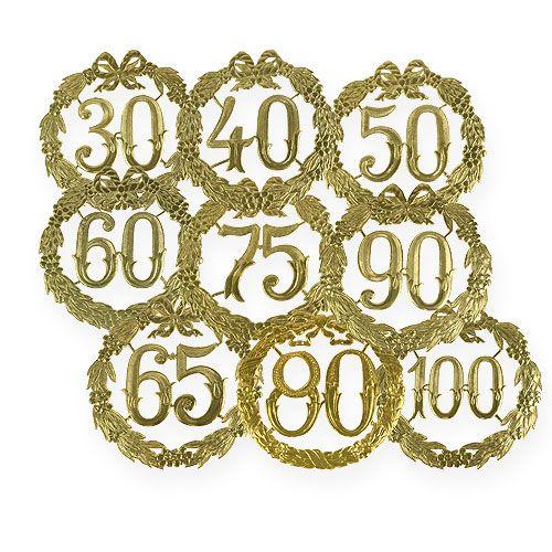 Aniversario números 24cm oro