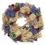 Guirnalda decorativa de hierba seca y flores artificiales lila Ø20cm