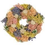 Guirnalda decorativa de hierba seca y flores artificiales de salmón Ø20cm