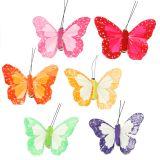 Plumas mariposas en el clip de colores 7cm 12pcs