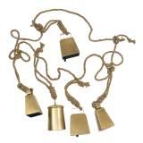 Conjunto de cencerro para colgar latón metal 8.2 / 9.5cm cuerda 240cm