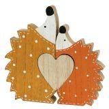 Decoración de otoño erizo par con corazón 15cm - 18cm
