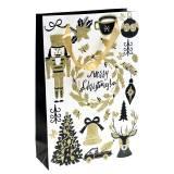 """Bolsa de regalo Bolsa de papel """"Feliz Navidad"""" Gold Glitter H30cm 2pcs"""