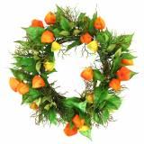 Corona de Physalis artificial naranja, verde Ø28cm decoración de otoño