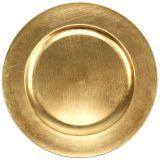 Plato de plástico 25cm dorado con efecto pan de oro