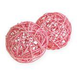 Bola de ratán Ø10cm rosa 10pcs
