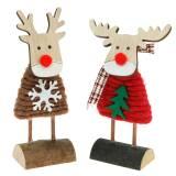 Reno y alce con jersey navideño marrón / rojo Al.14,5 / 13,5cm 6ud