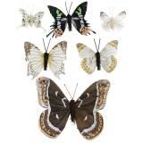 Mariposa decorativa con clip de metal plata natural surtido H4.9cm / 5.8cm / 7.4cm 6pcs