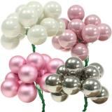 Mini bola navideña en alambre 40mm rosa, plata, blanco 36pcs