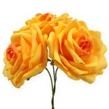 Rosas de espuma amarillo oscuro Ø10cm 8pcs