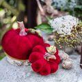 Deco calabaza rojo decoración de mesa otoño polyresin 10.5 × 9cm 2pcs